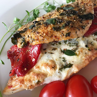 Roasted Red Pepper and Garlic Stuffed Mozzarella Chicken.