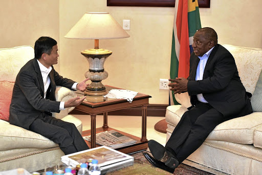 Vital exchange: President Cyril Ramaphosa meets Jack Ma, founder of the Alibaba Group, ahead of the Chinese-based global group's digital economy conference in Johannesburg on August 8. Picture: GCIS