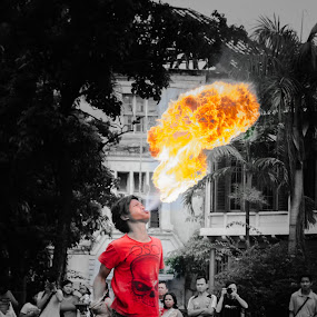 The fire starter  by Said Rizky - People Musicians & Entertainers ( indonesia, street art, show, jakarta )