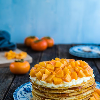 Stacked Pancake Cake with Persimmons and Honey