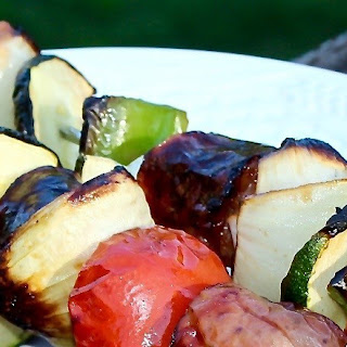 Grilled Sausage Tomatoes Zucchini Kabobs