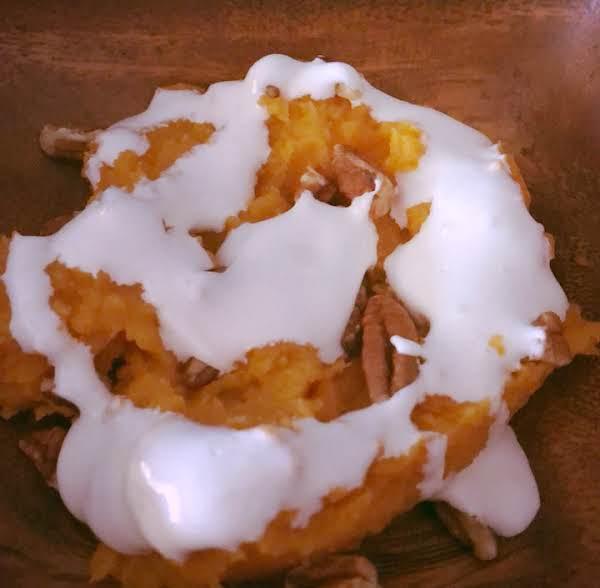 Mashed Sweet Potatoes With Pecan Marshmallow Gravy Recipe