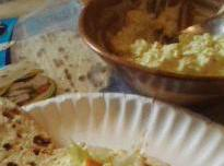 In another bowl peel and chop hard boiled eggs and mix mayo, dijon, onion...