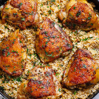 Buttery Garlic Herb Chicken and Lemon Parmesan Cauliflower Rice Recipe