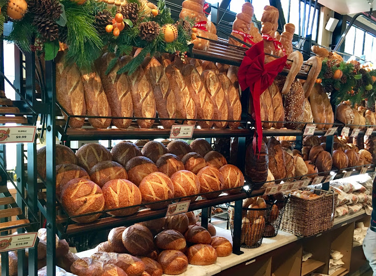 Sourdough and all sorts of other breads on display.