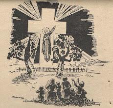"""Photo: Irena Dybowska, drzeworyt. Ilustracja do broszury """"KŁOSY Z BOŻEJ ROLI """" wyd. 1935 r. Wizja w r. 1723 na miejscu męczęństwa bł. Andrzeja, widziana przez ludność Janowa."""