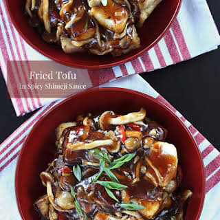 Fried Tofu in Spicy Shimeji Sauce.