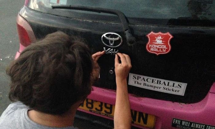 The Pink Yak  Toyota Yaris Logo Mongol Rally | Krys Kolumbus Travel Blog