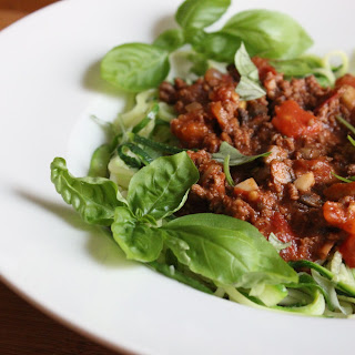Balsamic Beef Bolognese with Zucchini Noodles.