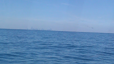 Photo: Chicago from a distance in Lake Michigan. We are south heading to Hammond, IN.