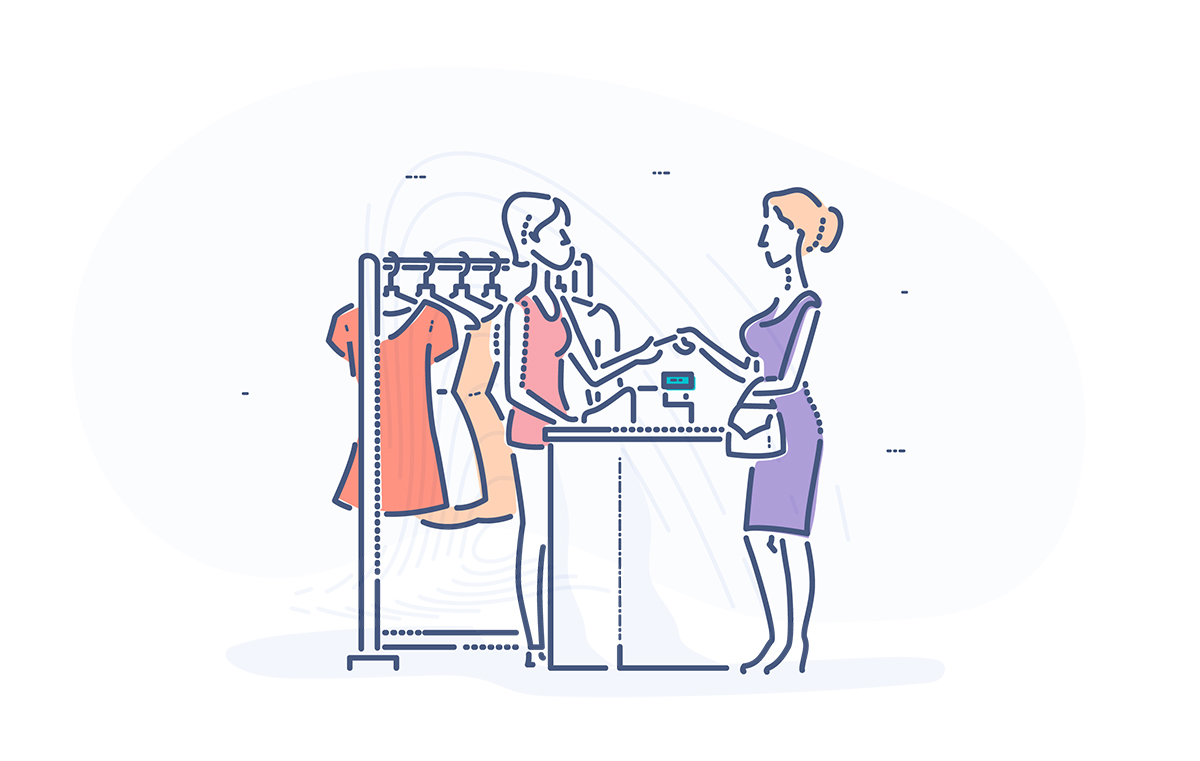 Merchant Services - clothing retailer behind counter receiving credit card from customer.