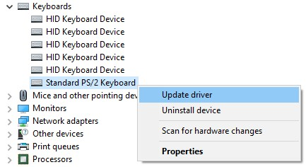 Update driver option in the context menu for Standard PS/2 keyboard
