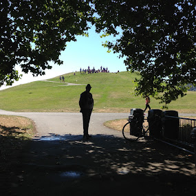 Out of the shadows by Eric Eldritch - City,  Street & Park  City Parks ( seattle, silhouette, shadow, path, gasworks park, walk )