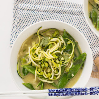 Easy Coconut Green Curry with Zucchini Noodles.