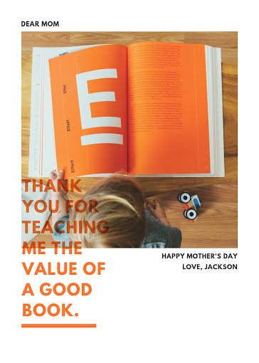 The Value of a Good Book - Mother's Day Card Template