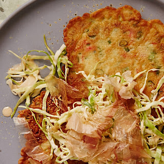Japanese Green Onion Pancake with Spicy Cabbage Slaw.