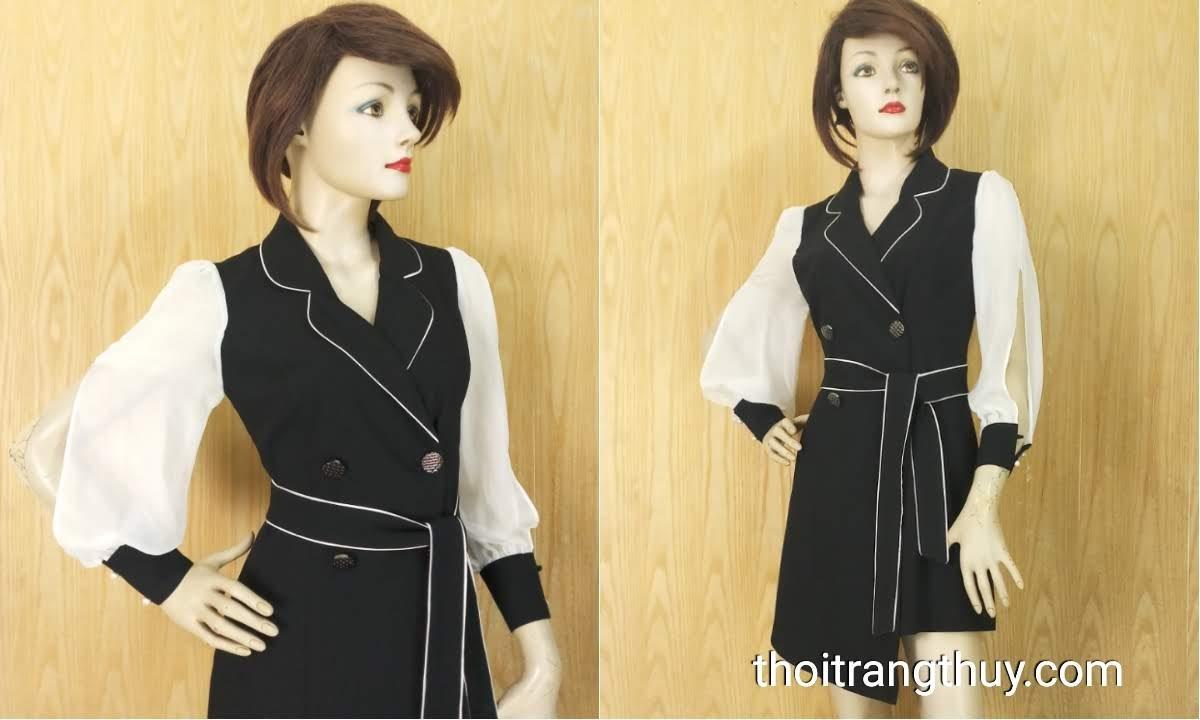 Váy xòe cổ vest nữ tay bồng xẻ quyến rũ V641 Hải Phòng