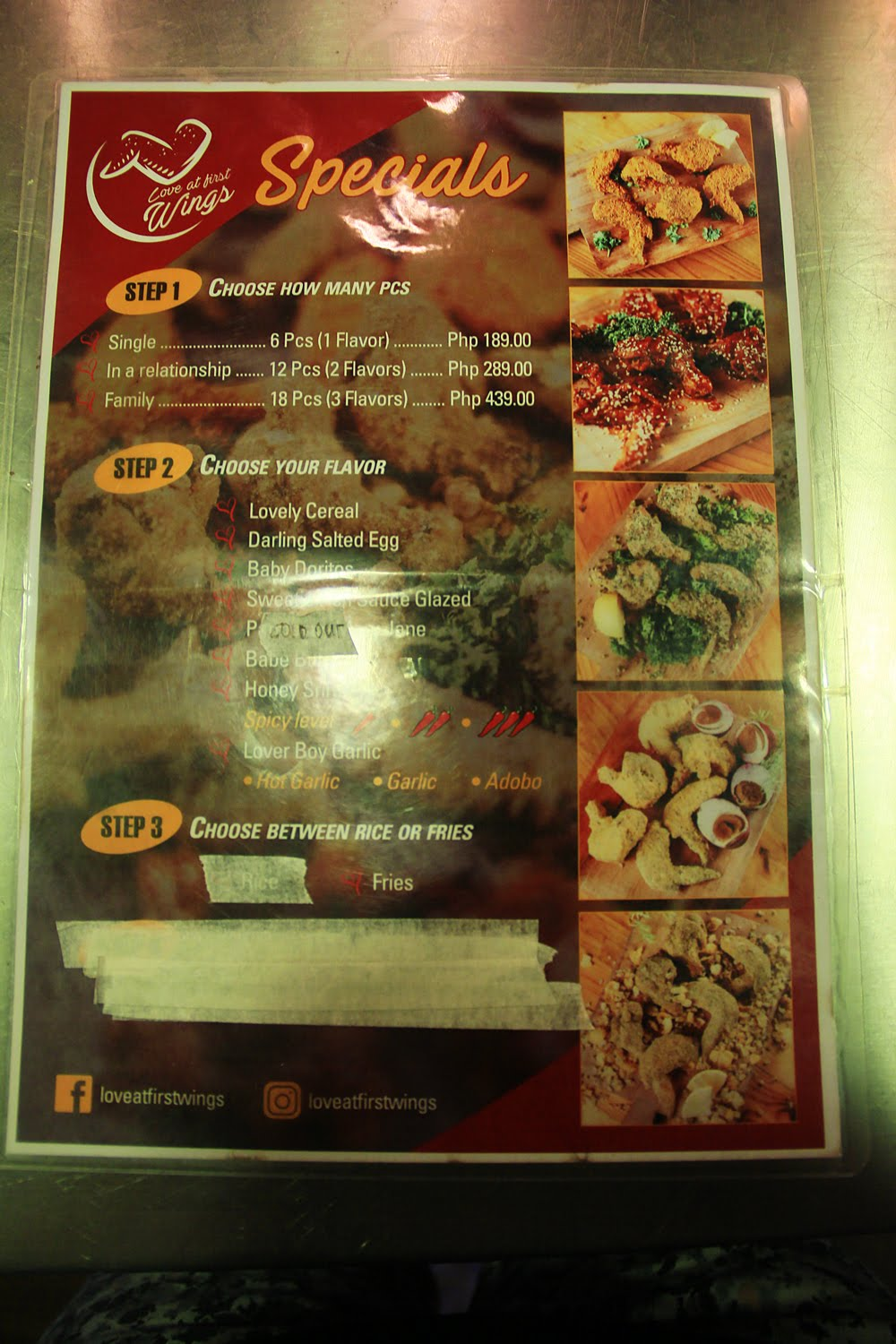 Love at First Wings Menu