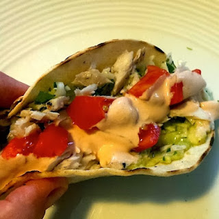 Healthy Fish Tacos with Asian Slaw and Sriracha sauce