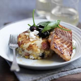 Glazed Salmon with Potato Patties.