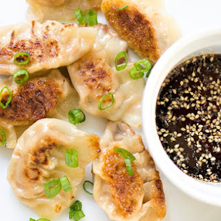 CHICKEN AND VEGETABLE POTSTICKERS.