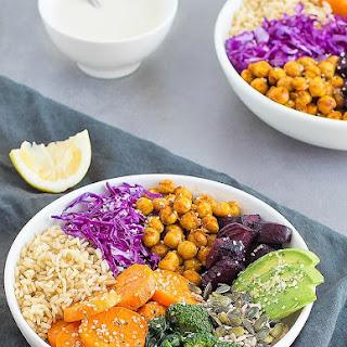 Vegan Buddha Bowl with Tahini-Lemon Sauce.