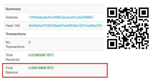 Bitcoin check address balance