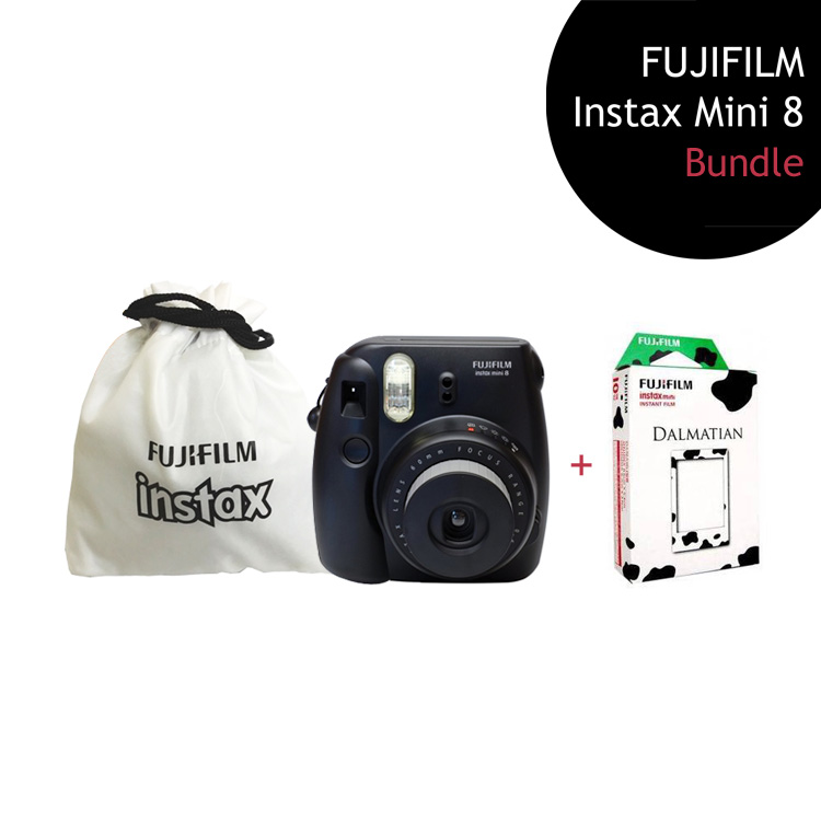 [Bundle] FUJIFILM Instax Mini 8 Camera (Black) + Dalmation Film Pack + Instax Pouch by My Pocket Net Sdn Bhd
