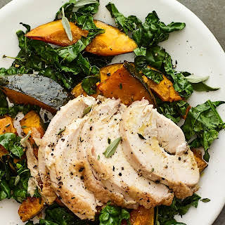 Sheet Pan Chicken Breast With Kabocha and Kale.