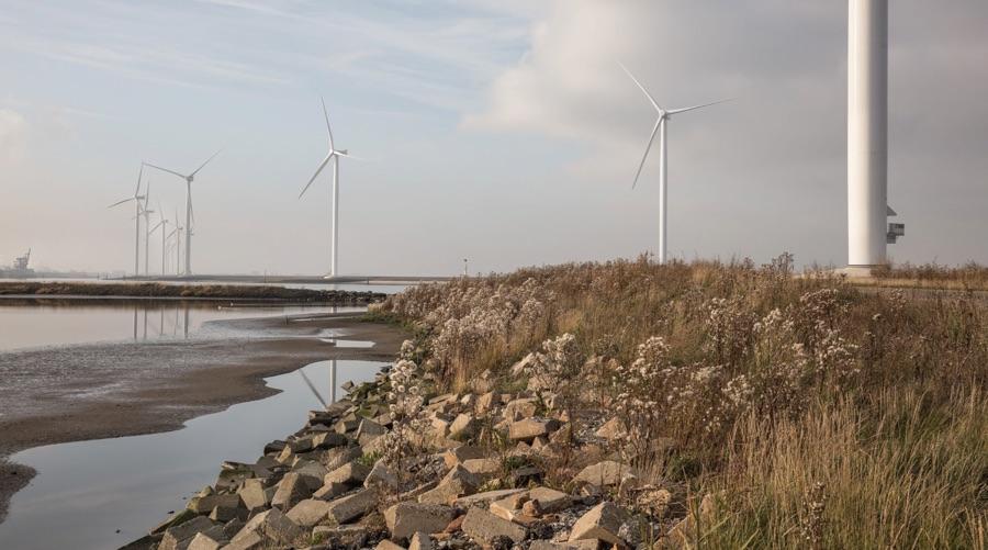 Wind turbines along a rocky shoreline
