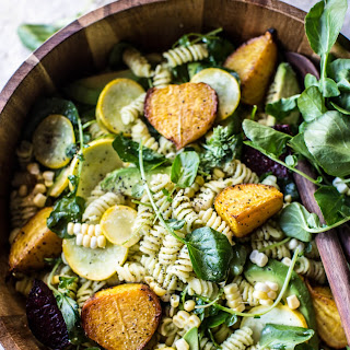 Goat Cheese, Roasted Beet and Basil Pasta Salad. Recipe