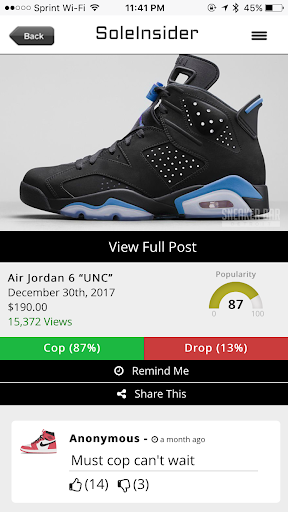 Sneaker Release Dates Screenshot