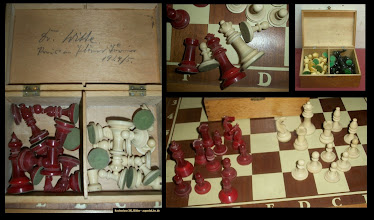Photo: An Uhlig part-set of chessmen seen on eBay Germany, Feb.2012. The material used looks to be galalith.