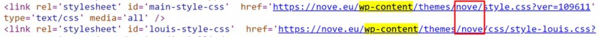 Código-fonte de uma página do WordPress, onde é possível verificar o nome do tema utilizado