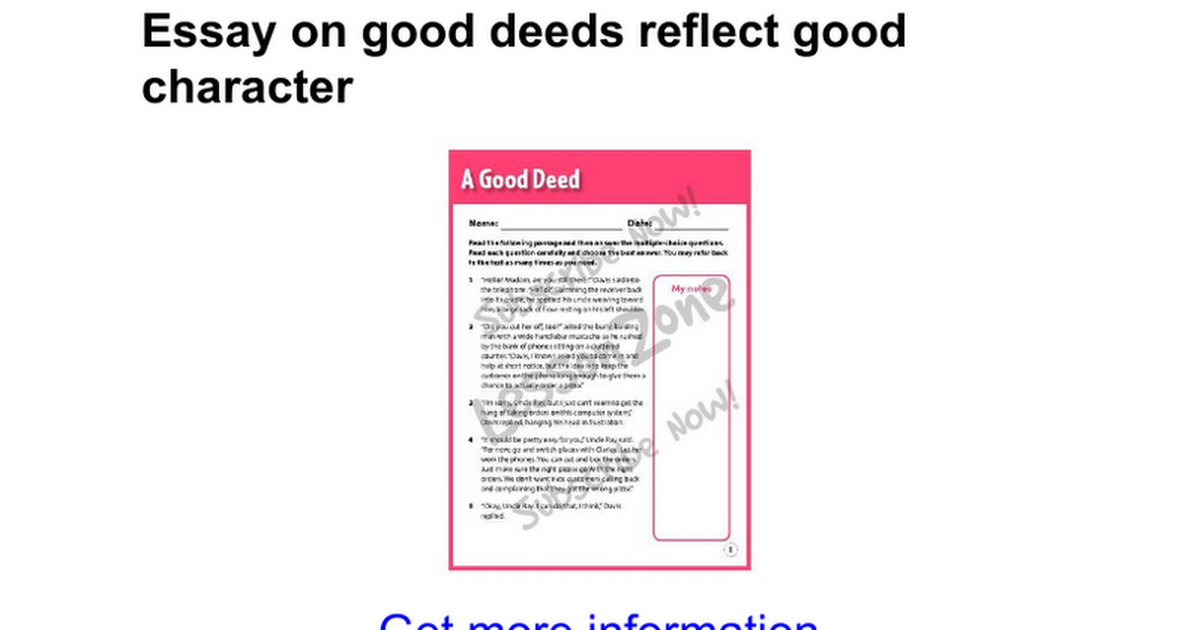 essay on good deeds reflect good character google docs