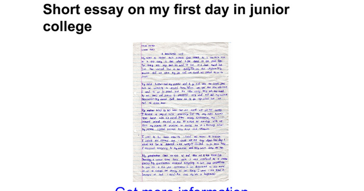 short essay on my first day in junior college google docs