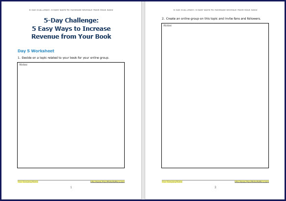 Promote & Market Your Business Book - Challenge Worksheet 5