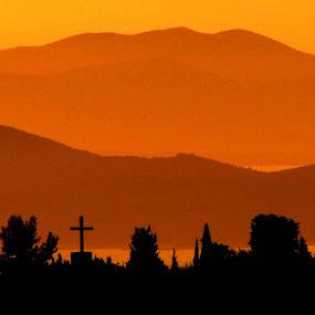 Sunset over three islands by Jaksa Kuzmicic - City,  Street & Park  Vistas