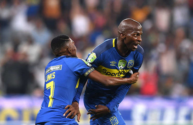 Cape Town City captain Thamsanqa Mkhize (R) celebrates with teammate Gift Links after scoring the second goal during the 2-0 Nedbank Cup first round win over SuperSport United at Cape Town Stadium in Cape Town on January 26 2019.