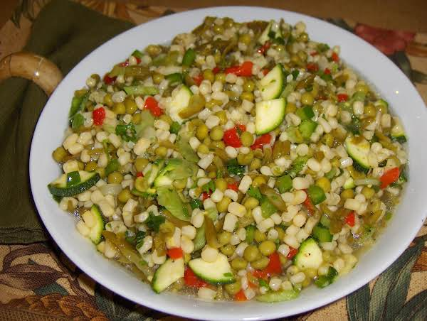 Isn't This Colorful And Festive-looking? It's A Great Salad For Take Alongs, Picnics, Pot-lucks, Etc. It Serves A Lot Of People, And It Keeps For A Good Long Time! Enjoy!