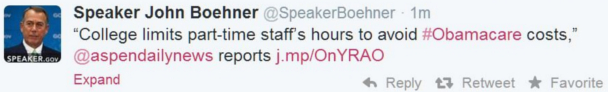 Boehner Tweet Part Time Caused By ObamaCare SM.JPG