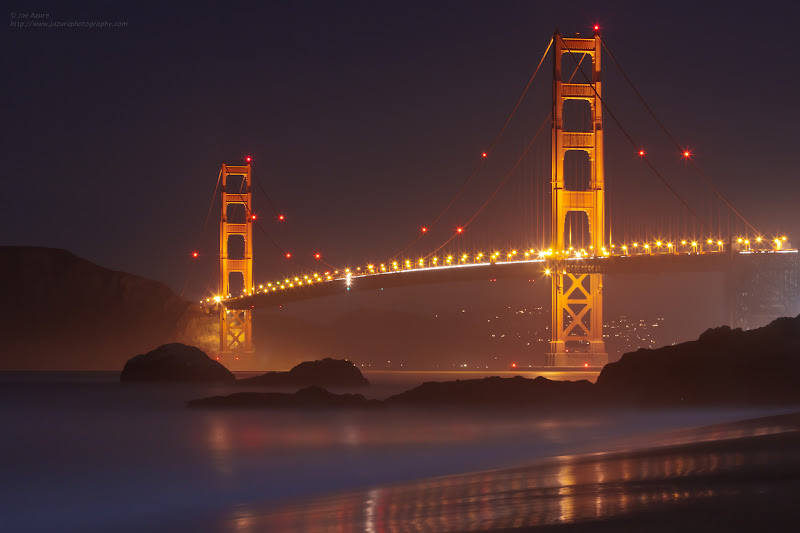 Photo: This is one of my first images of the Golden Gate Bridge (and also the beginning of this weird obsession with pointing my camera at it) . I shot this back in January of 2011 while I was on a Night Photography workshop. At that time, I had only been trying to learn photography for a couple of months, but had already taken a workshop prior to that, so felt comfortable doing it again.  If you have never taken a photography workshop, and you have been considering it, my advice to you is to Do IT. I consider the workshops that I have taken (I continue to take them when I can) to be the best money I have spent on photography ... well...maybe my filter collection comes close :)  For a relatively small amount of money and time, I was able to accelerate my learning curve, and at the same time making the time I spend out shooting - even more valuable. If you look around, you will find workshops for all the various types of photography. Talk to others, hear their experiences and opinions on instructors/guides and go do it. ~joe (I am not affiliated with anybody, but am happy to give my personal recommendations for people/workshops in the San Francisco area - just send private message)