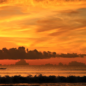 Early Fish by Bong Flores - Landscapes Sunsets & Sunrises ( waves, silhouette, sunrise, beach, boat )