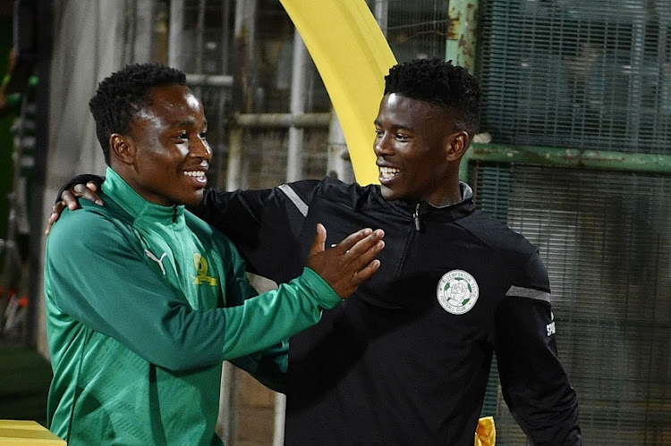 Keletso Makgalwa of Mamelodi Sundowns and Neo Maema of Bloemfontein Celtic during the MTN 8, quarter final match between Mamelodi Sundowns and Bloemfontein Celtic at Lucas Moripe Stadium on August 17, 2019 in Pretoria, South Africa.