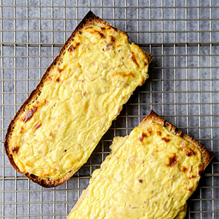 Cheesy Soufflé Tartine and Healthier Vegetable Plate Recipe