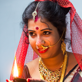 Bridal Moods of Indian Bride by Rajib Chatterjee - People Portraits of Women