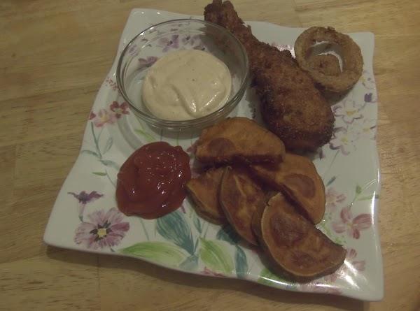 Deep Fried Chix Tenders,onion Rings&sweet Pot Frie Recipe