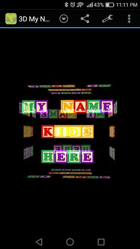 玩免費遊戲APP|下載3D My Name for Kids LWP app不用錢|硬是要APP