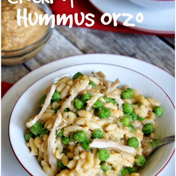 CrockPot Recipe for Hummus Orzo with Chicken and Peas