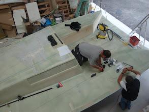 Photo: mise en place de l'accastillage harken